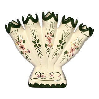 1970s Vintage Hand-Painted Faience Tulipiere Vase For Sale