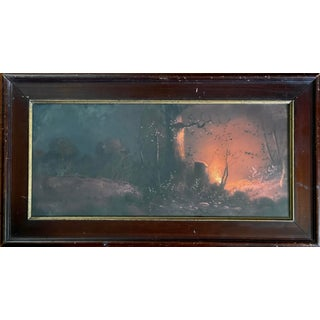 """1940s """"Forest Landscape at Night with Fire"""" Pastel Drawing, Framed For Sale"""