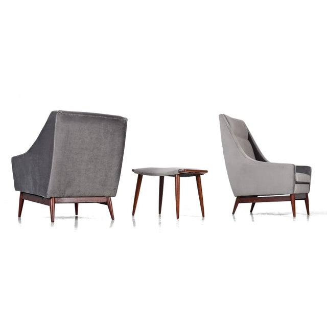 Mid-Century Modern Restored Mid Century Modern 2 Chairs & Ottoman Set For Sale - Image 3 of 7