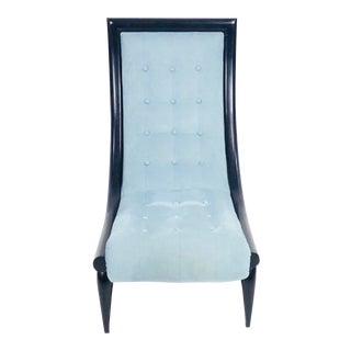 Contemporary Century Furniture Light Blue Velvet Side Chair