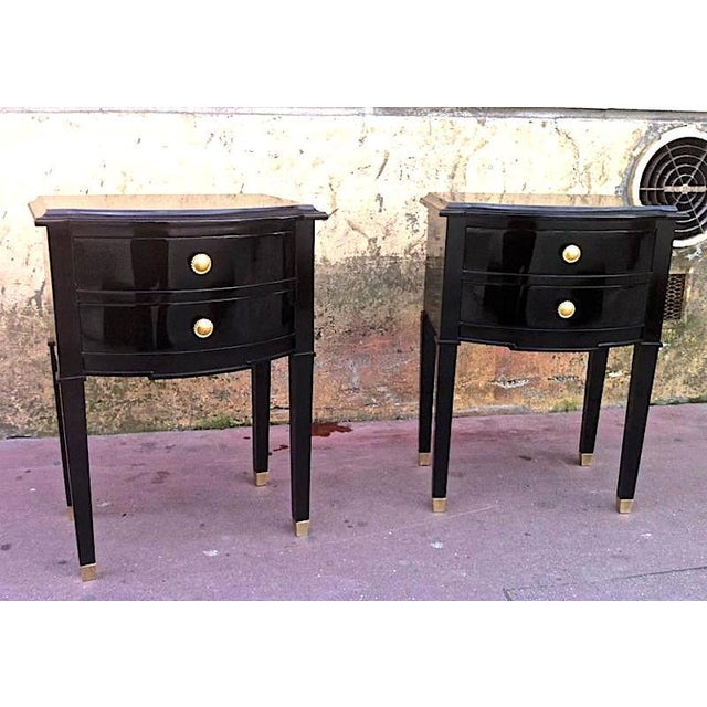 Hollywood Regency Maison Jansen Refined Pair of Black Lacquered Bedsides or Side Tables For Sale - Image 3 of 6