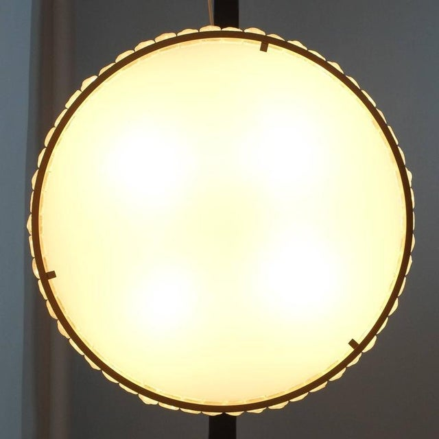 Art Deco Large French Art Deco Brass and Glass Flush Mounts ceiling lights by Jean Perzel For Sale - Image 3 of 9