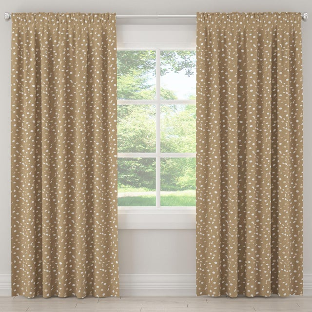 """Contemporary 108"""" Blackout Curtain in Camel Dot by Angela Chrusciaki Blehm for Chairish For Sale - Image 3 of 7"""