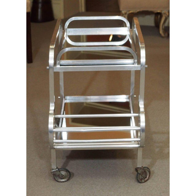 French Art Deco Aluminum Drinks Trolley with Removable Tray-Style of Adnet For Sale - Image 4 of 8