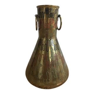 Vintage Sarna Brass Vase For Sale
