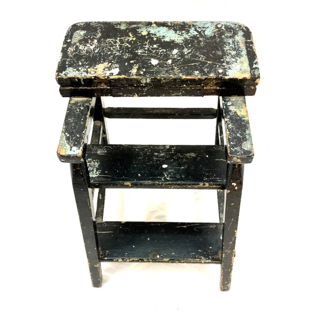 Wood Vintage Shabby Boho Chic Splatter Paint Step Stool For Sale - Image 7 of 10