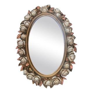Vintage Oval Homco Roses Ornate Mirror For Sale