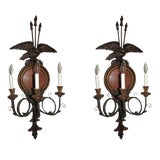 Image of Federal Style 3 Light Wall Sconces-a Pair For Sale