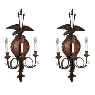 Federal Style 3 Light Wall Sconces-a Pair For Sale