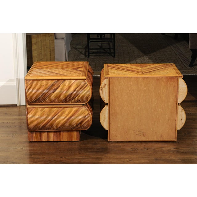 Magnificent Restored Pair of Bullnose Small Chests in Bamboo, Circa 1980 For Sale - Image 9 of 13