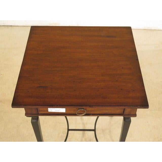 Labarge 1990s Rustic Labarge Mahogany Top 1 Drawer Table For Sale - Image 4 of 8