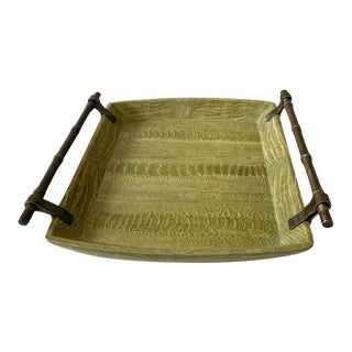 R & Y Augousti Snakeskin and Metal Bamboo Tray For Sale