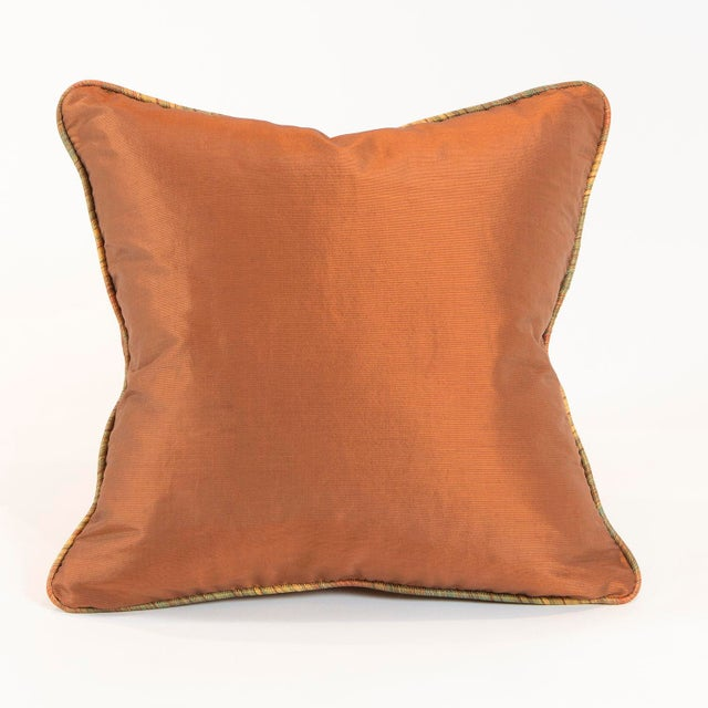 Copper Ribbed Silk Pillows - Pair - Image 3 of 4