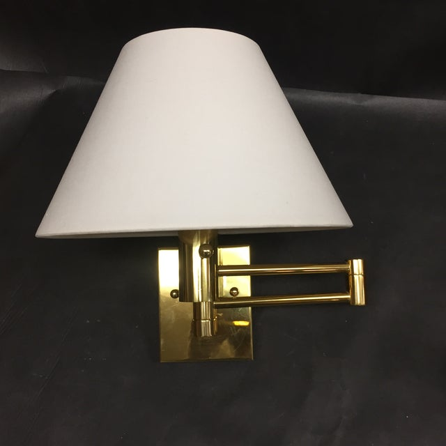 Casella Satin Brass Oversized Swing Arm Wall Lamp and Linen Shade - a Pair For Sale - Image 10 of 11