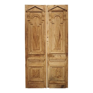 Pair of Antique French Egyptian Pine Doors With Carved Bird Motifs For Sale
