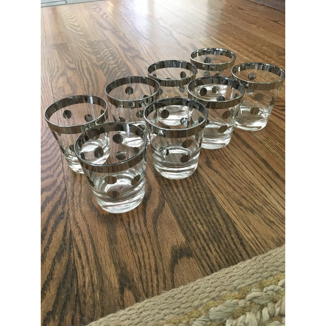 Mid-Century Modern Polka Dot Silver Glasses Dorthy Thorpe Style - Set of 8 For Sale - Image 3 of 9