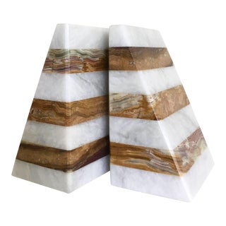 Marble Color Blocked Book Ends - Pair For Sale