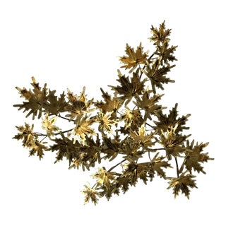 1980s Jere Style Brass Leaf Wall Sculpture For Sale