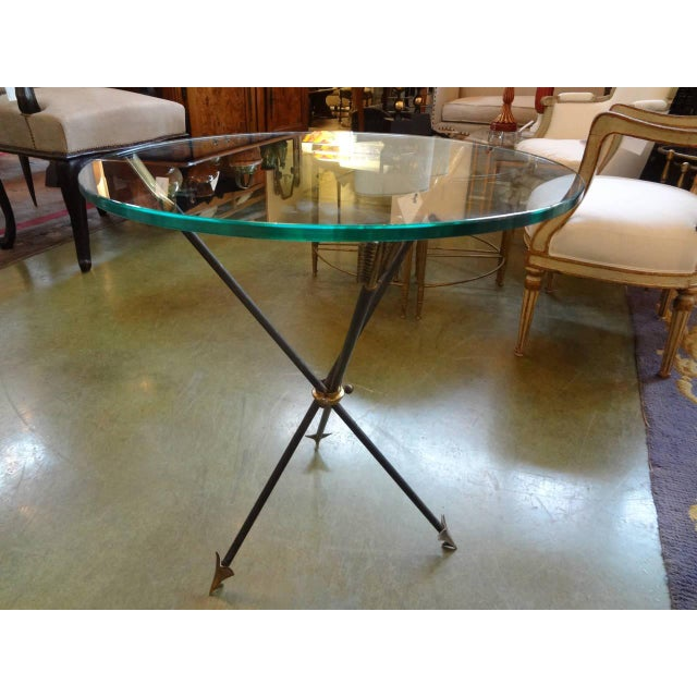 Gold 1960s Mid Century Modern Iron and Bronze Arrow Base Side Table For Sale - Image 8 of 9