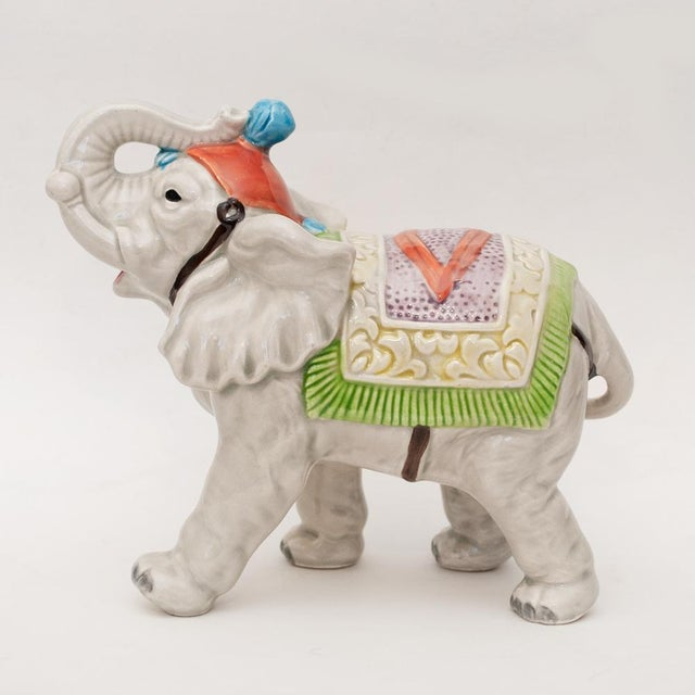 1983 Japanese Porcelain Circus Elephant Figurine or Bookend For Sale - Image 12 of 13