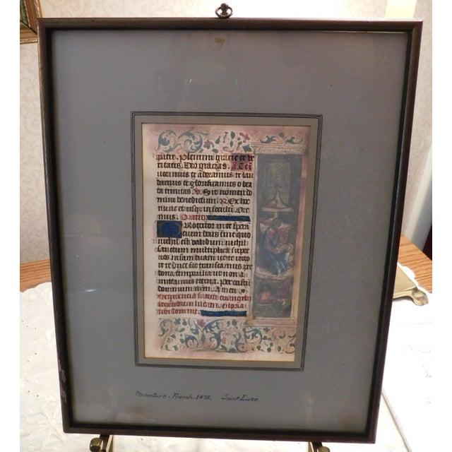 Stunning double-sided illuminated manuscript folio featuring St. Luke, France, c. 1475. Incredibly detailed illustration...