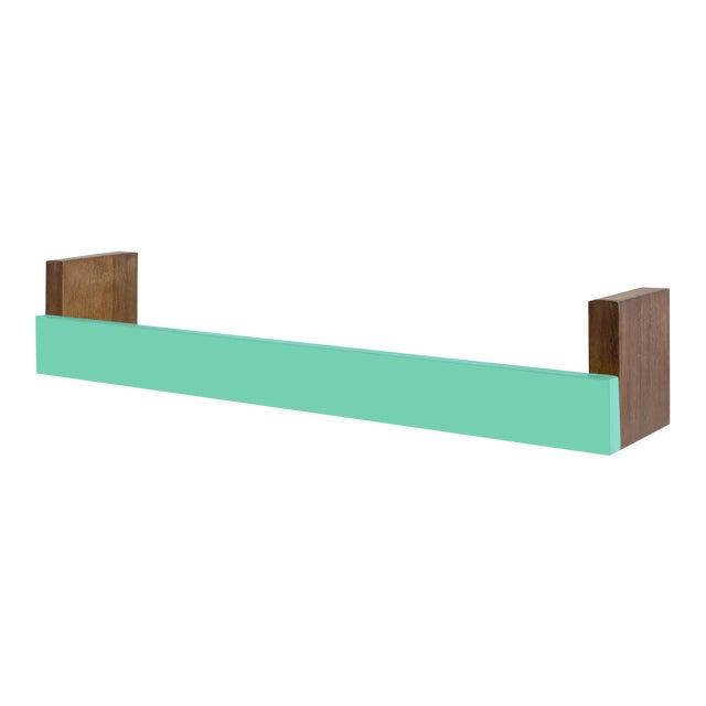"Nico & Yeye Minimo Modern 34"" Large Floating Shelf Walnut Wood Veneer Mint For Sale"