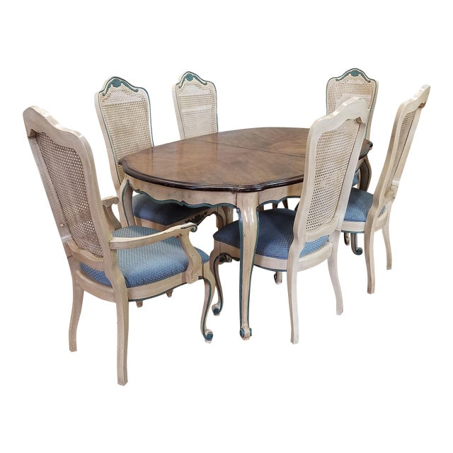 1960s French Provincial Dining Table w/ 6 Chairs
