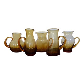 Vintage Amber Crackle Glass Pitchers - Set of 5