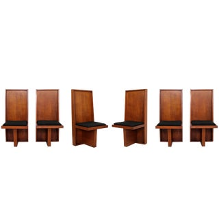 Mid-Century Modern Set of Six High Back Frank Lloyd Wright Style Dining Chairs For Sale