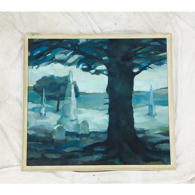 Vintage Original Blue Abstract Landscape in Frame - Image 5 of 7