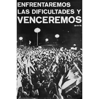1976 Cuban Political Poster, Enfrentaremos Las Dificultades Y Venceremos (We Will Face the Difficulties and We Will Win) For Sale