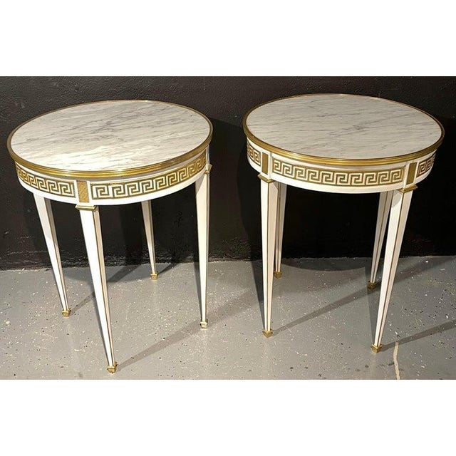 Maison Jansen Style Pair of Bouillotte / End Tables, Side Table or Pedestals For Sale - Image 4 of 12