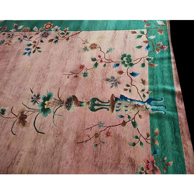 "Art Deco 1920s Antique Chinese Art Deco Rug-8'10"" X 11'8"" For Sale - Image 3 of 7"