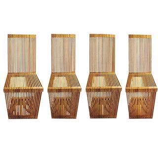 1970s Vintage Slatted Wood Cantilevered Chairs - Set of 4 For Sale