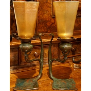 Pair Tiffany Studios Cobra Bronze Candlesticks With l.c.t. Favrile Lamp Shades Preview