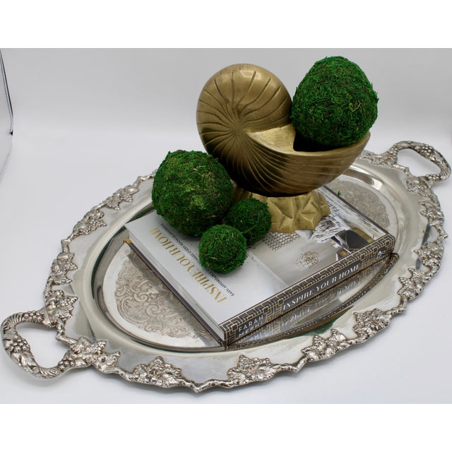 Mid-Century Silver Plate Handled Serving Tray For Sale - Image 12 of 13