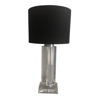 Mid-Century Lucite Polygonal Lamp with Black Shade For Sale