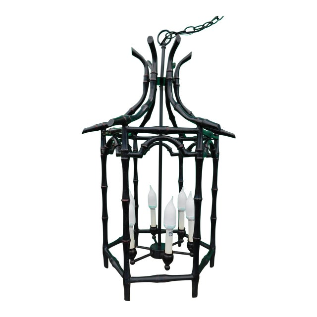 Pagoda Faux Bamboo Chandelier For Sale