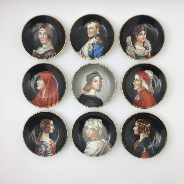 Ceramic Hand-Painted Porcelain Portrait Plates by Richard Ginori - Set of 9 For Sale - Image 7 of 7