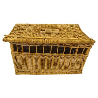 1920s French Wicker Small Animal Carrier For Sale