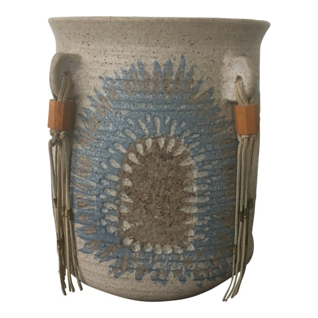 Vintage Mid Century Feather Native American Style Pottery Planter For Sale