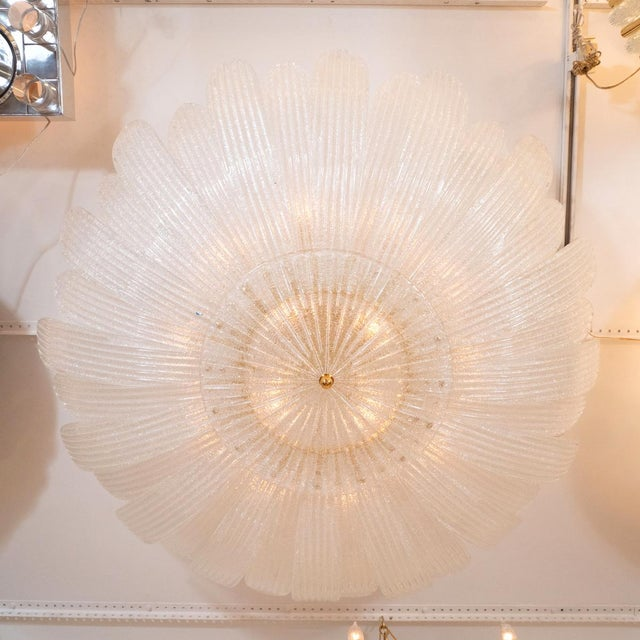 Textured Glass Foliate Form Chandelier For Sale - Image 4 of 5