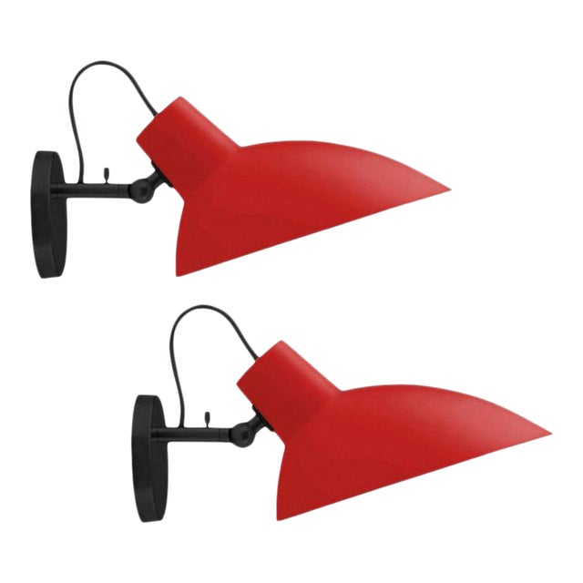 Vittoriano Viganò 'VV Cinquanta' Sconces in Red and Black - a Pair For Sale