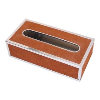 Mid-Century Burnt Orange Velvet Tissue Box For Sale