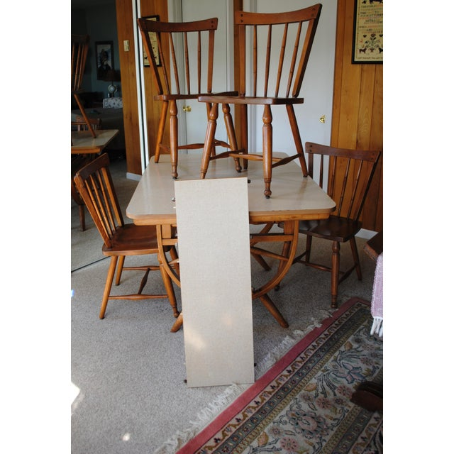 Maple 1950's Southwestern Baumritter Ethan Allan Wagon Wheel Dining Set - 5 Pieces For Sale - Image 7 of 13