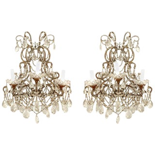 Italian Venetian Three Arm Wall Sconces - a Pair For Sale