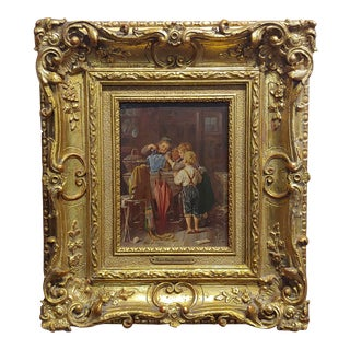 """Meyer Von Bremen """"Children Uncovering a Mystery Pet"""" Oil Painting, 19th Century For Sale"""