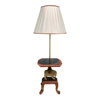 Whimsical Vintage Elephant Table Floor Lamp with Shade For Sale