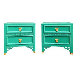 1960's Dixie Shagri La Green and Gold Leaf Hollywood Regency Nightstands- a Pair For Sale