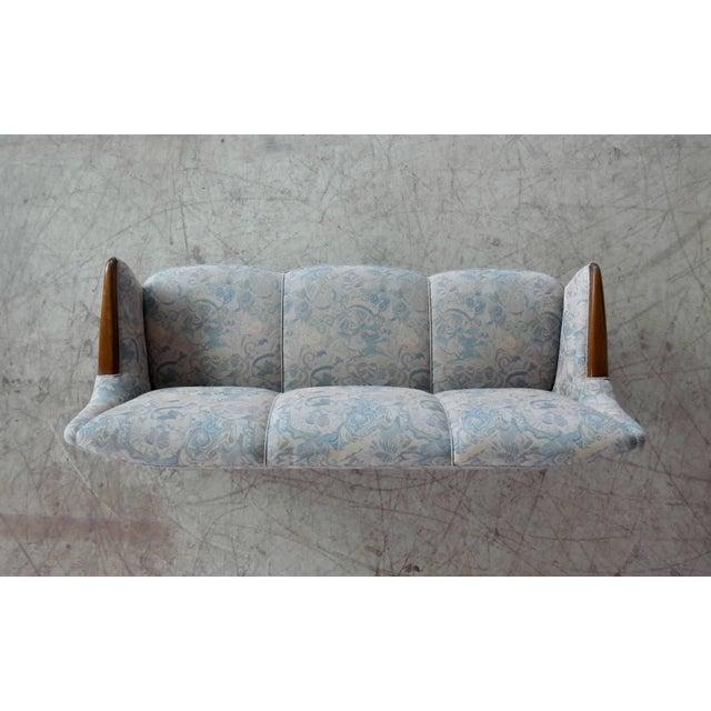 Danish Midcentury Sofa With Teak Armrests For Sale - Image 9 of 10